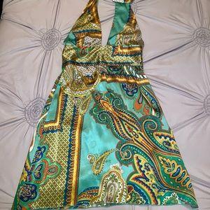 Bebe Silk Halter Dress